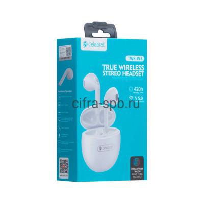 Беспроводные наушники TWS-W3  с микрофоном белый Celebrat купить оптом | cifra-spb.ru