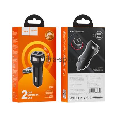 АЗУ 2USB Z40 2.4A черный Hoco купить оптом | cifra-spb.ru