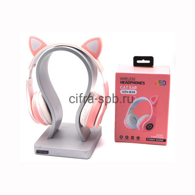 Беспроводные полноразмерные наушники VZV-B39 с микрофоном Светящиеся ушки розово-белый купить оптом | cifra-spb.ru