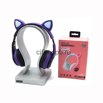 Беспроводные полноразмерные наушники VZV-B39 с микрофоном Светящиеся ушки фиолетово-черный купить оптом   cifra-spb.ru