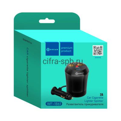 АЗУ 2USB WF-1861 2.4A + разветвитель на 2 прикуривателя черный Dream купить оптом | cifra-spb.ru