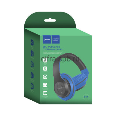 Беспроводные наушники DRM-P15 с микрофоном полноразмерные синий Dream купить оптом | cifra-spb.ru