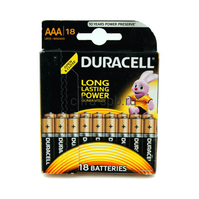 Батарейки AAA LR3 Duracell 18шт (цена за ед.) купить оптом | cifra-spb.ru