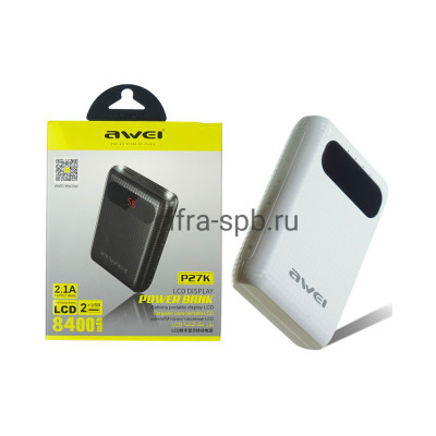 Power Bank 8400 mAh P27K 2.1A белый Awei купить оптом | cifra-spb.ru