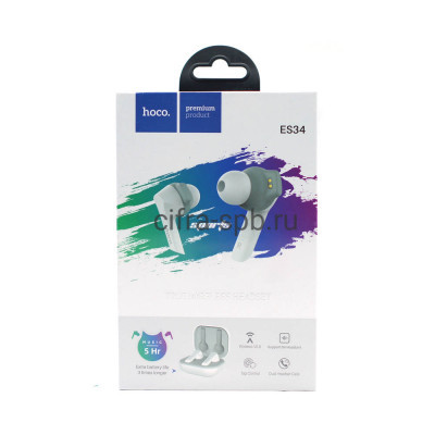Беспроводные наушники ES34 с микрофоном белый Hoco купить оптом | cifra-spb.ru