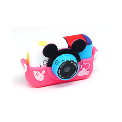 Детский фотоаппарат с селфи обьективом + чехол Микки маус розовый купить оптом | cifra-spb.ru