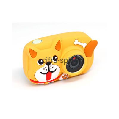 Детский фотоаппарат голубой с селфи обьективом + коричневый чехол Собачка купить оптом | cifra-spb.ru