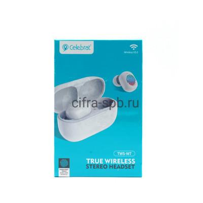 Беспроводные наушники TWS-W7  с микрофоном белый Celebrat купить оптом | cifra-spb.ru